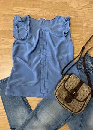 Фирменная яркая блуза marks&spencer,легкая блузочка оверсайз,100% шелк