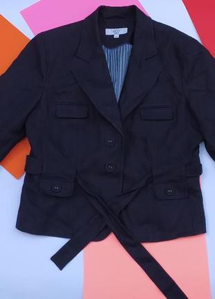 Новый льненой льняной пиджак синий жакет косуха