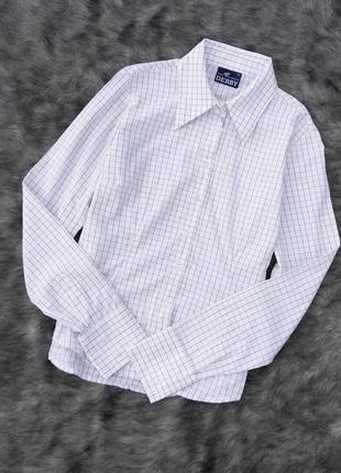 Хлопковая рубашка блуза из коттона в клетку с