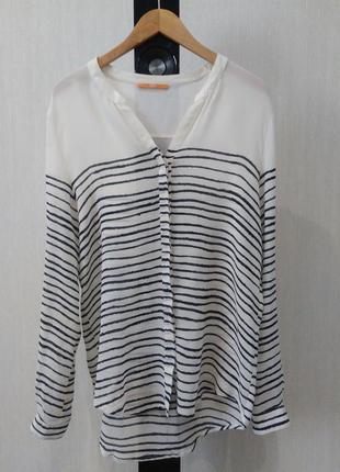 Шелковая блуза hugo boss, стильная полосатая рубашка, 100% шелк, размер 38, высокий рост