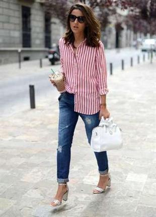 Коттоновая рубашка в красную полоску