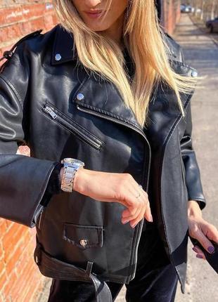 Оверсайз косуха кожанка куртка удлиненная ,черная экокожа2 фото