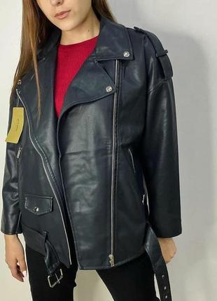 Оверсайз косуха кожанка куртка удлиненная ,черная экокожа3 фото