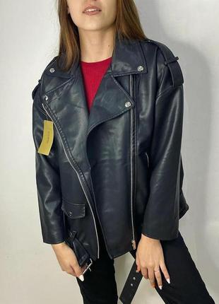 Оверсайз косуха кожанка куртка удлиненная ,черная экокожа4 фото