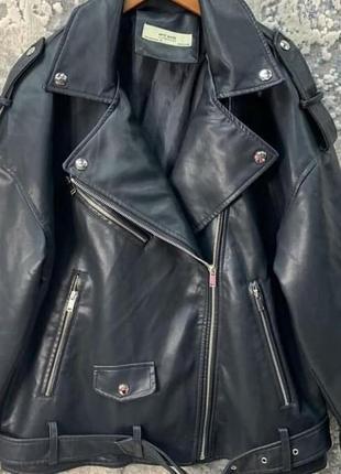 Оверсайз косуха кожанка куртка удлиненная ,черная экокожа5 фото