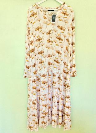 Платье из жатой вискозы с красивым цветочно-растительным принтом, house, финляндия