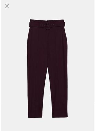 Zara брюки штаны с высокой посадкой винные бордовые бургунди