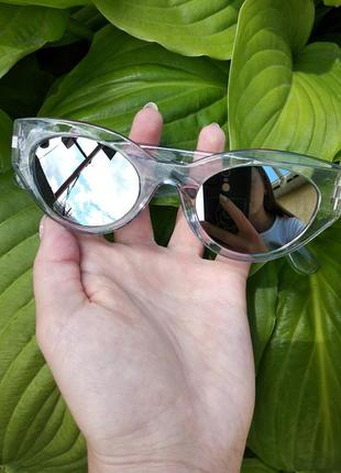 Крутые солнцезащитные очки круглые зеркальные прозрачная оправа