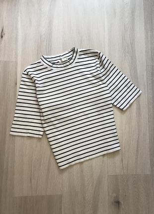 Топ майка футболка під горло в рубчик в полоску / полосатый топ в рубчик высокая горловина