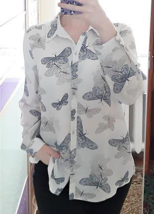1+1=3 серая блуза блузка рубашка с бабочками с длинным рукавом george, размер 50 - 52