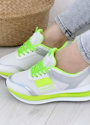 Кроссовки белые с салатовым