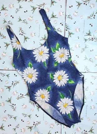 🌿1+1=3 красивый сдельный сплошной синий купальник с ромашками, размер 46 - 482 фото