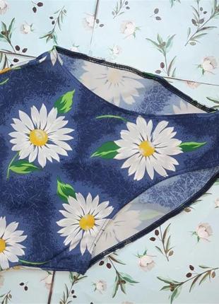 🌿1+1=3 красивый сдельный сплошной синий купальник с ромашками, размер 46 - 483 фото