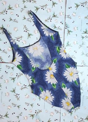 🌿1+1=3 красивый сдельный сплошной синий купальник с ромашками, размер 46 - 486 фото