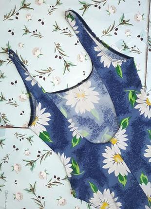 🌿1+1=3 красивый сдельный сплошной синий купальник с ромашками, размер 46 - 485 фото