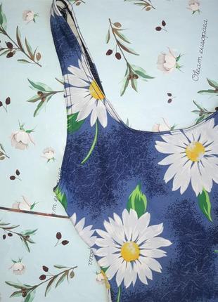 🌿1+1=3 красивый сдельный сплошной синий купальник с ромашками, размер 46 - 487 фото