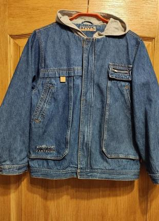 Pampolina джинсовая куртка с капюшоном на молнии, джинсовка на рост 140 см