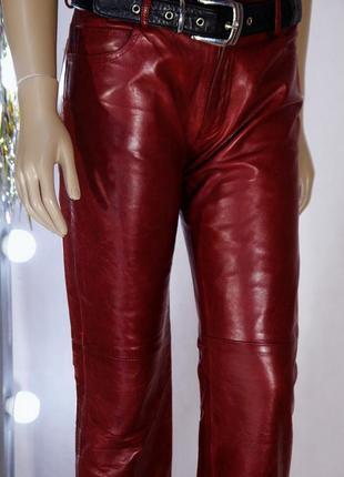 Натуральные кожаные брендовые штаны брюки на средней посадке