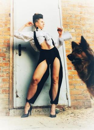 Брюки штаны высокая талия посадка с разрезами подтяжками петлей стрейч комбинезон