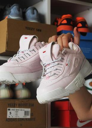 Кроссовки fila disruptor 2 pink white (бело розовые)
