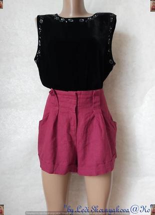 Фирменные new look шорты на 52% лён и 48 % вискоза в цвете бордо, размер 2хл
