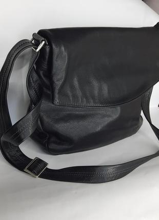 Мужская кожаная сумка черная барсетка через плечо на каждый день