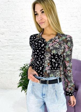 Красива оригінальна блуза , сорочка в квітковий принт турция
