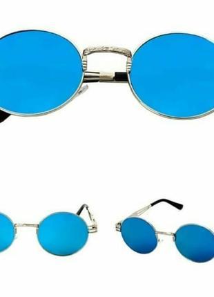 Трендовые зеркальные овальные очки унисекс синие линзы женские мужские