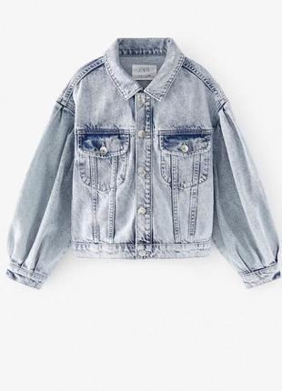 Модная джинсовая куртка zara для девочки