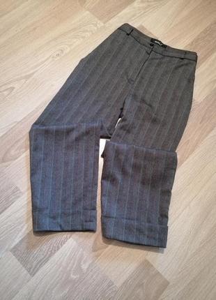 Короткие брюки кюлоты,бриджи в лёгкую полоску широкие прямые