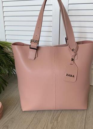 Большая женская сумка пудра,плечевая ручка,помещается формат а4