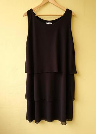 Базовое шифоновое платье италия большой размер батал черное