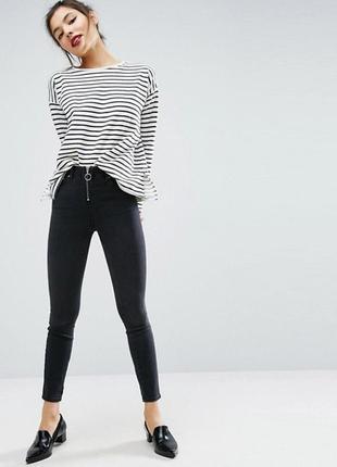 Черные джинсы скинни с молнией спереди чорні джинси скіні skinny jeans
