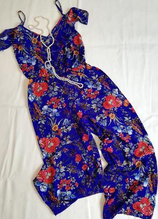 Классный синий брючный комбинезон в цветы на бретелях италия ромпер