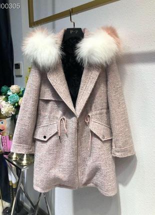Твидовое пальто с капюшоном