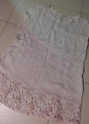 Легкое льняное платье с кружевом 28 размера италия