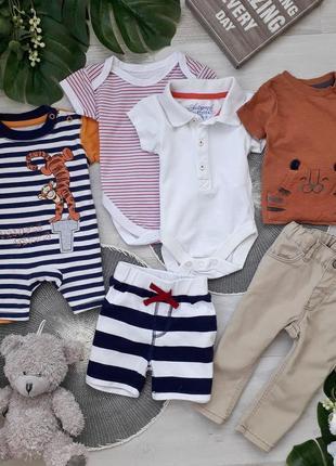 Комплект: пісочник, бодіки, брюки, футболка, шорти h&m