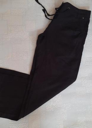 Льняные прямые штаны батал