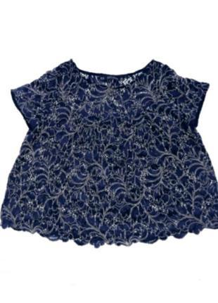 Ажурная темно-синяя блуза zara харьков