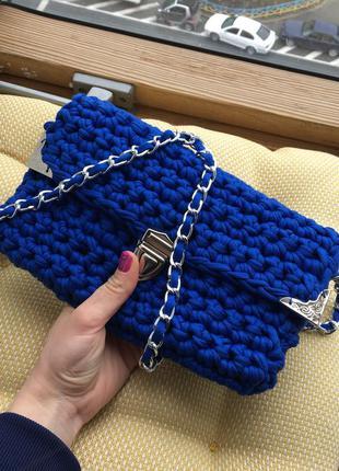 Клатч синий с уголками вязаный из трикотажной пряжи hand-made