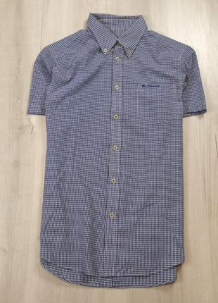 Z6 рубашка ben sherman бен шерман шведка клетчатая синяя тенниска