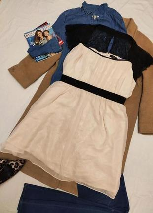 Платье большое батал классическое праздничное бежевое с чёрным кружевом inspire new look