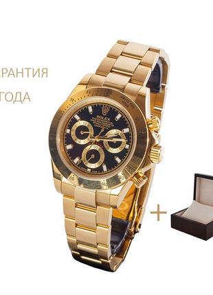 Часы мужские rolex daytona gold-black/новые/2 года гарантии