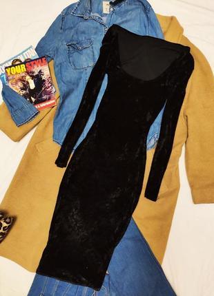 Платье велюровое чёрное миди