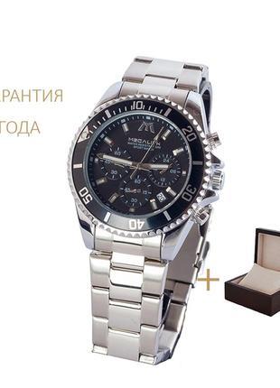 Часы мужские megalith steel-black chronograph/ новые/ гарантия 2 года