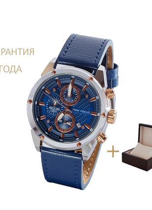 Часы мужские mini focus blue-silver-gold / новые/ 2 года гарантии