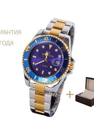 Часы мужские megalith gold-blue /новые/2 года гарантии/ с коробочкой