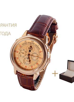 Часы мужские patek philippe sky moon gold-brown/новые/2 года гарантии