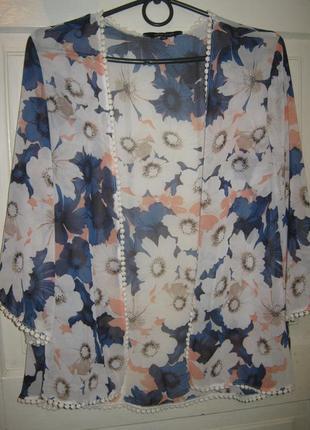 Блуза накидка кимоно ромашки кружево new look