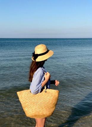 Большая пляжная соломенная сумка плетённая